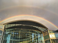Somewhere over the Forum Norwich (oh_jon) Tags: iphone uk nature architecture weather rainbow norwich theforum