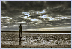 Look Out (david.hayes77) Tags: gormley anotherplace sefton merseyside 2012 windfarm contrejour silhouette dusk art installation crosby sirantonygormley blundellsands sculpture liverpoolbay beach statue coast