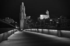 Baslica de Sant Feliu (ferreira.ajbf) Tags: bw nightphotography lines bridge girona contrast cityscape night city oldtown espaa spain