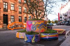 Colorful roadblocks (Maria Eklind) Tags: vghinder raodblocks colorful art pollare polla malm sweden graffiti streetart blockingthestreet streetview friisgatan malm vghinder skneln sverige se