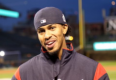 Indians shortstop Francisco Lindor smiles during an interview at Wrigley Field. (apardavila) Tags: postseason wordseries baseball clevelandindians franciscolindor majorleaguebaseball mlb sports worldseries wrigleyfield