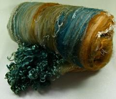 Coppered Pine Wild Card Bling Batt (yarnwench) Tags: batt artbatt spinning felting yarnwench