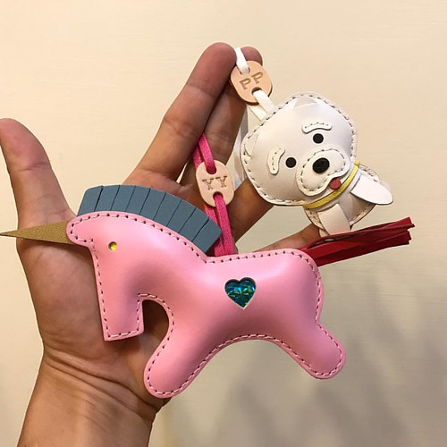 Custom order - beon the big unicorn in baby pink and bichon in small size with initial 😊😍😍, check out: www.leatherprince.etsy.com