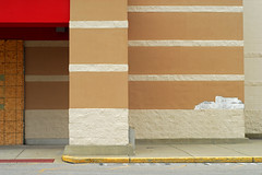 Indy#15285_Copy (Single-Tooth Productions) Tags: composition architecturalcomposition lines shapes colorblocks 2d flat brickandblock architecture architecturaldetail red redrectangle abandoned abandonedkmart kmart outofbusiness ewashingtonst indianapolis indiana urban city building buildingdetail buildingcomposition abstract 50mm nikkor nikkor50mm nikond200 nikon