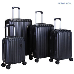 4Pcs Luggage Travel Set Bag ABS Trolley Spinner Carry On Suitcase TSA Lock Black (wupplestravel) Tags: 4pcs black carry lock luggage spinner suitcase travel trolley