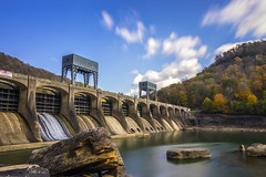 Hawks Nest Dam (reflectioninapool) Tags: appalachia fayettecounty newriver westvirginia architecture autumn boulders clouds concrete dam day dries gorge hills horizontal landscape light longexposure mountains outdoors rectangle river rocks scenery scenic sky structure trees water