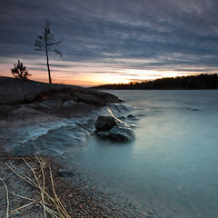 Vstra Skagene - Sunset (- David Olsson -) Tags: longexposure sunset lake tree beach reed nature water silhouette clouds square landscape evening bush sand nikon rocks sundown cloudy sweden dusk stones sigma windy pebbles cliffs filter le april late 1020mm grad 1020 hitech squarecrop vnern 2012 dx hammar vrmland lakescape gnd skoghall d5000 davidolsson weatherbeatentree vstraskagene 12soft