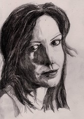 Almost Mary Louise Parker (Jim_V) Tags: shadow portrait woman celebrity pencil sketch weeds marylouiseparker