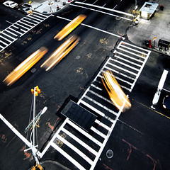 cabs and ladders (fotobananas) Tags: street city nyc newyorkcity urban newyork motion yellow speed canon square crossing nightshot traffic manhattan cab taxi yellowcab junction motionblur upperwestside crossroads amsterdamavenue s95 fotobananas canonpowershots95