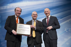 Norman Baker, Peter Hendy and Michael Klkoth at the presentation of the Transport Achievement Award