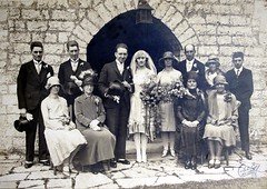 John and Ida's wedding, 1928 (Sweetington) Tags: wedding vintage familyhistory oldphotograph 1928 spats vintagephotograph foxfur
