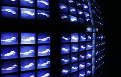 The Weather Machine 2 (sonofwalrus) Tags: blue light england abstract slr london weather clouds canon grid squares naturalhistorymuseum screens eos400d