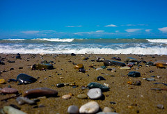 Cecina Beach (JC23lumixfs3) Tags: sea sky beach stone sand mare waves pebbles shore cielo spiaggia onde cecina ciottoli
