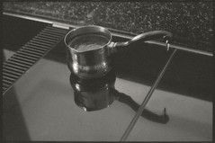 Greek Coffee (Tony_Roman_Photography) Tags: ca bw white black 1969 kitchen coffee greek 55mm cannon ft turkish f12 ql