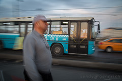 Riding the Bus - Galata Bridge - Istanbul (sandy_gennrich) Tags: street city travel blue motion bus men hat turkey walking outside evening spring adult may istanbul baseballhat riding mature cap pan bluehour panning icm tr sultanahmet galatabridge publictransporation adultman intentionalcameramovement
