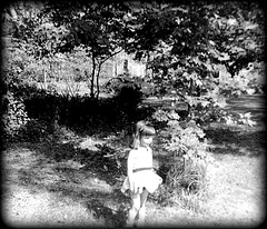 me, childhood, place unknown (Cassi J) Tags: bw childhood vintage vintageclothing vintagephotographs