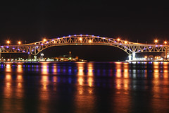 Blue water nights (Notkalvin) Tags: longexposure bridge ontario canada night lights michigan border le sarnia span bluewaterbridge porthuron internationalborder notkalvin