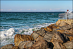 Man and the Sea (Chris C. Crowley) Tags: ocean slash man fishing fisherman rocks waves jetty horizon scenic spray boulders atlanticocean whitecaps ponceinlet manandthesea ponceinletflorida chriscrowley