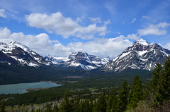Ahhh, Snow-capped Mountains (fromky) Tags: lake mountains nature landscape bluesky snowcapped serenity glaciernationalpark