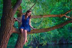 Treetops (Anna Gorin) Tags: woman tree girl canon river model branch sigma naturallight 7d perch beautifulwoman brunette youngwoman 70200mm sittingintree bluedress teengirl lacedress outdoorportrait modelreleased modelmayhem boisegreenbelt