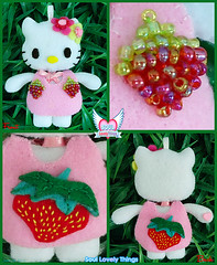Strawbee Kitty (Soul Lovely Things) Tags: pink cute fruit cat design strawberry doll dress handmade girly hellokitty crafts craft crafty         kawtharalhassan soullovelythings