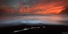 Sunset Symmetry (orvaratli) Tags: ocean winter sunset seascape black water landscape lava photo iceland sand south january wave atlantic arctic pinnacles vk visipix