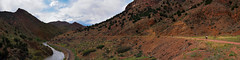 Pano: All Through The Canyon (ethanbeute) Tags: city family panorama water canon river outdoors colorado walk pano traintracks tracks megan panoramic canyon hike photomerge easy owen arkansasriver canoncity canyoncity tunneldrive easyhike