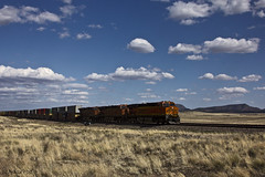 Chugging Across the Arizona Desert (San Francisco Gal) Tags: arizona sky cloud train landscape route66 engine freight bnsf