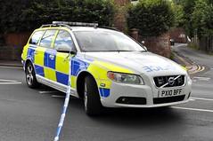Cumbria Police ANPR Volvo Estate car, PX10 BFF, at a Carlisle crime scene.