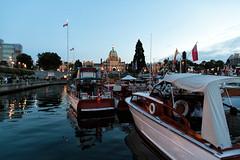 Inner Harbour (yukonchris) Tags: sunset sea canada docks boats lights seaside dusk britishcolumbia victoria flags seawall innerharbour parliamentbuildings moorage