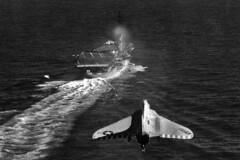 VF-13 F4D-1 Skyray AK-102 (skyhawkpc) Tags: airplane inflight aircraft aviation navy douglas naval usnavy usn 1960 ussessex skyray ak102 f4d1 145072 cva9 vf13nightcappers