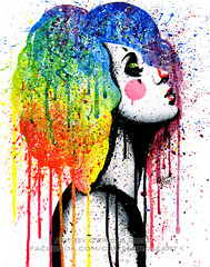 Masked II (Caressa_sparkle) Tags: art girl up rock tattoo illustration watercolor painting rainbow colorful punk artist pin bright jester drawing outsider clown traditional pop drip popart splatter pinup alternative harlequin lowbrow drippy edgy