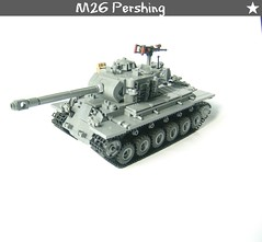 M26 Pershing (WW2 Creations) Tags: world 2 two usa wheel soldier army star us war gun track tank lego suspension 26 tracks machine m mg vehicles wheeled ww2 vehicle guns ww fighting armored pershing tanks wot compared tracked m26 brickarms