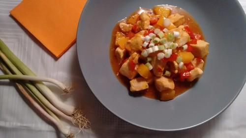 Pollo en salsa de chili dulce