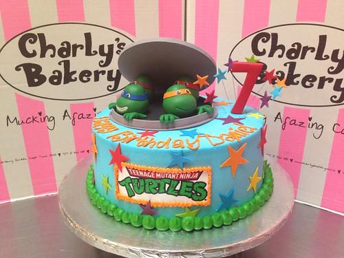 Teenage Mutant Ninja Turtles TMNT themed 7th birthday cake iced in