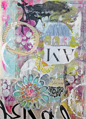 Art Journal Page by Roben-Marie Smith (Roben-Marie) Tags: flower art collage paper mixedmedia painted journal stenciling cheesecloth layered journaling stenciled artjournaling doodled robenmarie