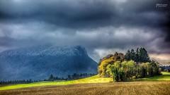 When clouds hidding mountain. (Jean McLane) Tags: cloudy cloudscape landscape paysage paisaje suisse nature photoshop sonyrx100 rx100 autumn automne trees forest fort arbres