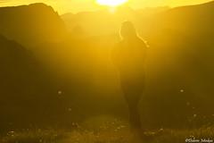 Into the Sun (DobriMv) Tags: sunset sun yellow peak mountain ridges meadow girl woman walking autumn colorful rila nationalpark outdoor landscape nature popova kapa malyovitsa рила попова капа