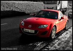 Winter MX5 (larry_shone) Tags: car mazda urban mx5 selectivecolour red darlington miata sportscar