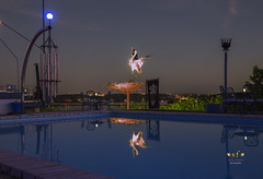 Night Swim (not allowed) (SteveFrazierPhotography.com) Tags: theblueheron restaurant dining food artwork art statue metal lakeoftheozarks water sky nest lakeozark camdencounty missouri mo ozarks stevefrazierphotography
