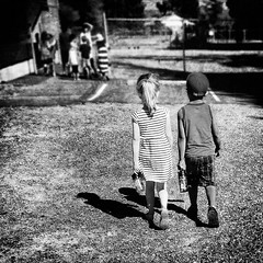 Best Friends Forever :-)) (Natalia Medd) Tags: children kids boy girl walking friendship friends bff summer outdoor outside water bottle school square two together cute childhood bw blackandwhite monochrome iphone texture