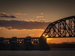 Bridge to Louisville (nicklaborde) Tags: 500px bridge evening no person sunset outdoors transportation system travel architecture water dawn river sky light landscape city louisville ky kentucky lumix gx7 panasonic