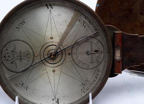 Rare Chandlee & Holloway Brass Surveyor's Compass, Baltimore 1818–1822 ($3,472.00)