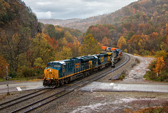 Rain Soaked Fairhope (Wheelnrail) Tags: csx csxt locomotive ge railroad rails sandp patch keystone subdivision fall autumn leaves rain weather fairhope pa pennsylvania et44ah tracks lashup loco