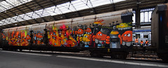 Les Hommes en orange (HBA_JIJO) Tags: streetart urban graffiti paris meushay nebay art france hbajijo letters peinture lettrage graff lettres lettring writer spray decoration metal train wagon charactere meushon vehicule orange color painting gare station sncf rails steel flickrunitedwinner flickrunitedaward