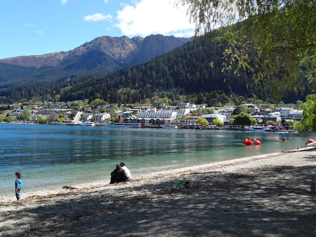 Queenstown. The esplanade of Lake Wakatipu near the Coronation Bath House which is now a fancy restaurant.