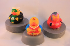 Superhero Duck on Soap $4.00 (Clelian Heights) Tags: cleliancenterproducts cleliancenter cleliansoaps decorativesoaps unscented rubberducky superhero hero