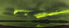 Aurora over the Jkulsrln Ice Lagoon (Nick L) Tags: jkulsrln jokulsarlon iceland icelagoonatjkulsrln icelagoonatjokulsarlon canonef1124f4l canon5dmark3 canon5d3 5d 5d3 aurora auroraborealis reflection mountain landscape