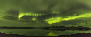 Aurora over the Jökulsárlón Ice Lagoon