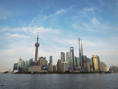 Shanghai skyline by Huangpo river (Germn Vogel) Tags: asia eastasia china shanghai city cityscape urban urbanlandscape travel traveldestinations traveltourism tourism touristattractions skyline river riverside water waterfront huangpo pudong orientalpearltower landmark skyscraper development progress building